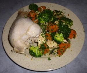 Dinde et légumes en cuisson vapeur