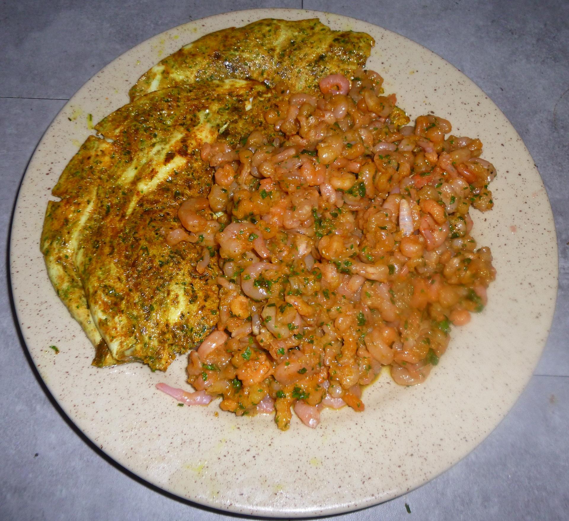 Crevettes avec œufs