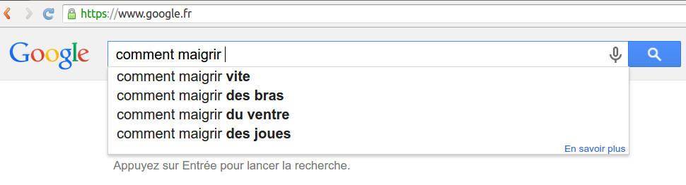 Comment maigrir sur google